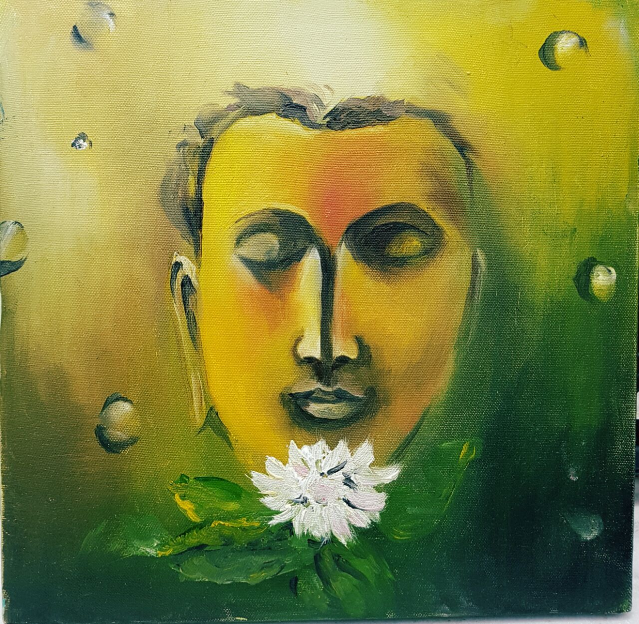 PAINTINGS ONLINE 'WHITE LOTUS BUDDHA'