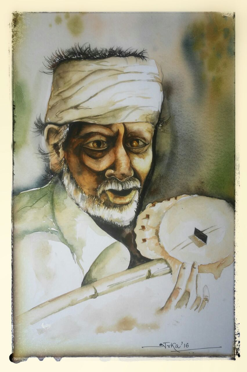 Figurativism Art Painting 'Old Musician'