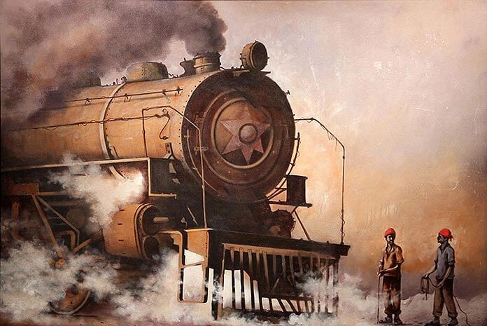 STEAM ENGINE 'LOCOMOTIVE 13' ACRYLIC ON CANVAS