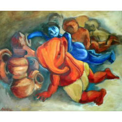 BUY CONTEMPORARY PAINTING ONLINE- 'GOVINDA-GANESH & GANG'