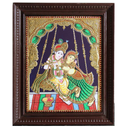 Tanjore Paintings Online 'Radhakrishna on Swing'