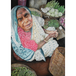 Hyperrealism Paintings Online 'Bhajiwali Woman'