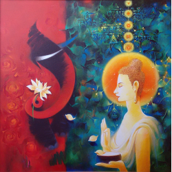 PAINTING 'CRUEL ELEPHANT AND CALM BUDDHA'