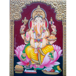 TANJORE PAINTINGS ONLINE 'GANESHA ON LOTUS 4'