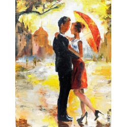 FIGURATIVE ARTS 'COUPLE IN RAIN'