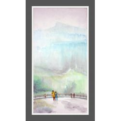 LANDSCAPE PAINTING 'PEOPLE AT SIGHT SEEING POINT'