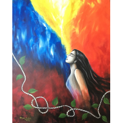 FIGURATIVE PAINTING 'WOMAN AT PEACE AND ENERGY'