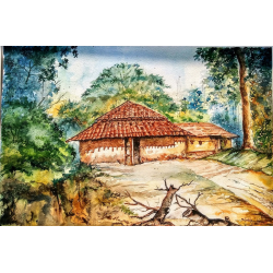 BUY LANDSCAPE PAINTINGS 'VILLAGE OF JHARKHAND'
