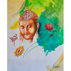 BUDDHA WITH DHARMA SHAKTI LOTUS ABSTRACT